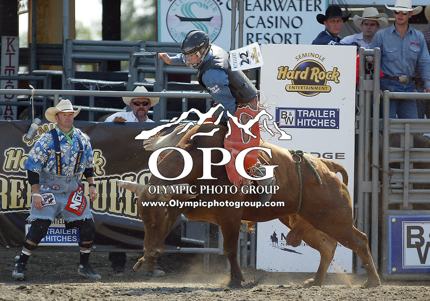 30 Aug 2009:  Collin McTaggart riding the bull Red Hot Mercy was not able to score on his ride during the Extreme Bulls tour stop in Bremerton, Washington.  Bremerton was the last stop in the Wrangler Million Dollar Pro Rodeo Silver Tour for 2009.