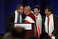 May 7, 2013  (College Park, Maryland)  His Holiness the 14th Dalai Lama, Tenzin Gyatso, and Maryland Governor Martin O'Malley touching noses, a common greeting in Tibet, like shaking hands. The Dalai Lama was the guest speaker at the Anwar Sadat Lecture for Peace at the University of Maryland Comcast Center, May 7, 2013.  (Photo by Don Baxter/Media Images International)