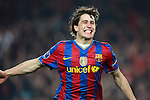 Barcelona's Bojan Krkic celebrates during Champions League match. March 17, 2010. (ALTERPHOTOS/Tati Quinones)