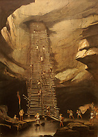 Nineteenth century lithograph entitled Well at Bolonchen by Frederick Catherwood in the Casa Catherwood in Merida, Yucatan, Mexico.