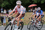 Polka Dot Jersey winner Romain Bardet (FRA) AG2R La Mondiale leads French Champion Warren Barguil and Elie Gesbert (FRA) Arkea-Samsic during the Criterium Castillon La Bataille 2019 the first criterium after the Tour de France held around Ville de Castillon-la-Bataille, France. 6th August 2019.<br /> Picture: Colin Flockton | Cyclefile<br /> All photos usage must carry mandatory copyright credit (© Cyclefile | Colin Flockton)