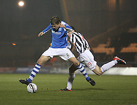 Murray Davidson being fouled by John McGinn in the St Mirren v St Johnstone Clydesdale Bank Scottish Premier League match played at St Mirren Park, Paisley on 8.12.12.