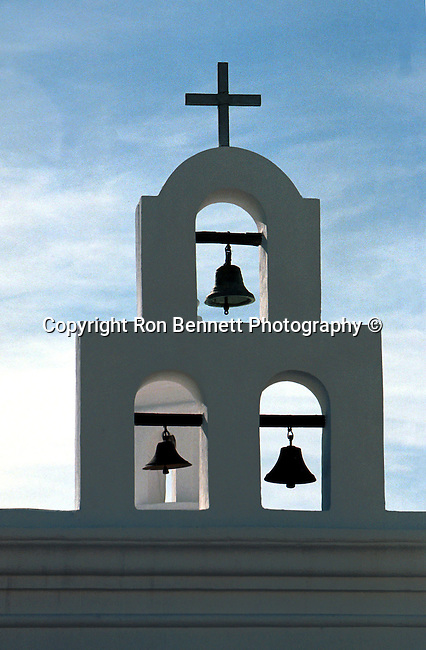 Mission San Xavier del Bac Spanish, Mission bells, cross, bell,bells, Catholic Mission, Rohono O'odham, San Xavier Indian Reservation, Mission, Arizona mission, San Xavier del Bac Spanish,Spanish mission, San Xavier, Stock and Fine Art Photography by Ron Bennett,