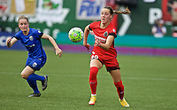 Portland, OR - Sunday, May 29, 2016: Portland Thorns FC midfielder Celeste Boureille (30). The Portland Thorns FC and the Seattle Reign FC played to a 0-0 tie during a regular season National Women's Soccer League (NWSL) match at Providence Park.