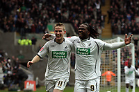 Pictured: Jason Scotland of Swansea (R) is celebrating his equalizer with team mate Mark Gower (L)<br /> Re: FA Cup Fifth Round, Swansea City FC v Fulham at the Liberty Stadium. Swansea, south Wales, Saturday 14 February 2009<br /> Picture by D Legakis Photography / Athena Picture Agency, Swansea 07815441513