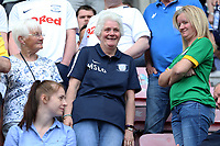 Preston North End fans enjoy the atmosphere inside the DW Stadium<br /> <br /> Photographer David Shipman/CameraSport<br /> <br /> The EFL Sky Bet Championship - Wigan Athletic v Preston North End - Monday 22nd April 2019 - DW Stadium - Wigan<br /> <br /> World Copyright © 2019 CameraSport. All rights reserved. 43 Linden Ave. Countesthorpe. Leicester. England. LE8 5PG - Tel: +44 (0) 116 277 4147 - admin@camerasport.com - www.camerasport.com
