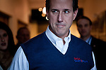 GOP presidential candidate Rick Santorum leaves a campaign stop at the Churchill County Museum in Fallon, Nev., February 2, 2012.