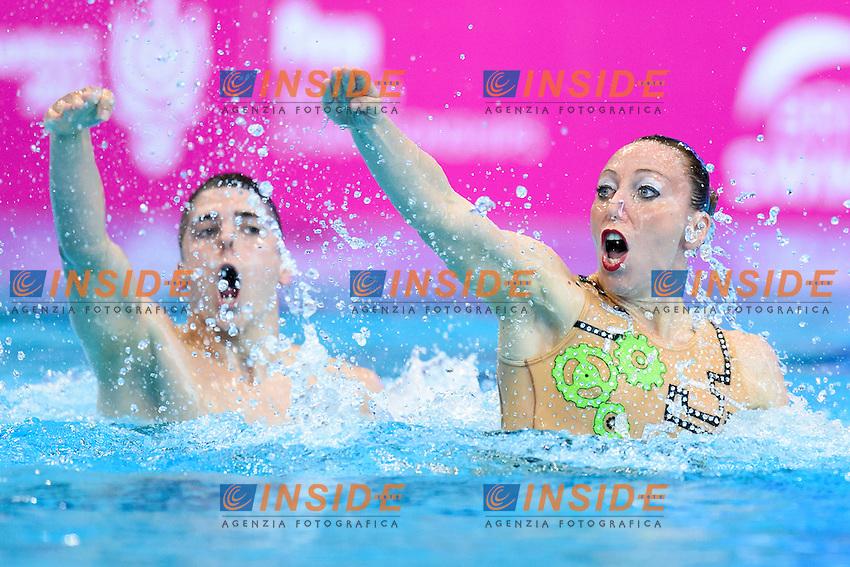 Manila FLAMINI Giorgio MINISINI ITA Silver Medal <br /> Mixed Duet Final <br /> London, Queen Elizabeth II Olympic Park Pool <br /> LEN 2016 European Aquatics Elite Championships <br /> Synchronized Swimming <br /> Day 05 13-05-2016<br /> Photo Andrea Staccioli/Deepbluemedia/Insidefoto
