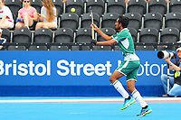 Tasawar Abbas of Pakistan controls the ball during the Hockey World League Quarter-Final match between Argentina and Pakistan at the Olympic Park, London, England on 22 June 2017. Photo by Steve McCarthy.