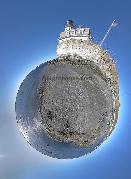 A little planet exposure of Rose Island Lighthouse