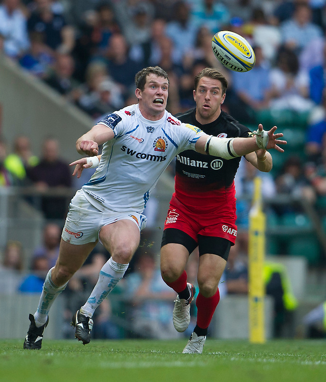 Ian Whitten of Exeter Chiefs battles with Chris Wyles of Saracens<br /> <br /> Photographer Ashley Western/CameraSport<br /> <br /> Rugby Union - Aviva Premiership Final - Saracens v Exeter Chiefs - Saturday 28th May 2016 - Twickenham Stadium, Twickenham, London  <br /> <br /> World Copyright &copy; 2016 CameraSport. All rights reserved. 43 Linden Ave. Countesthorpe. Leicester. England. LE8 5PG - Tel: +44 (0) 116 277 4147 - admin@camerasport.com - www.camerasport.com
