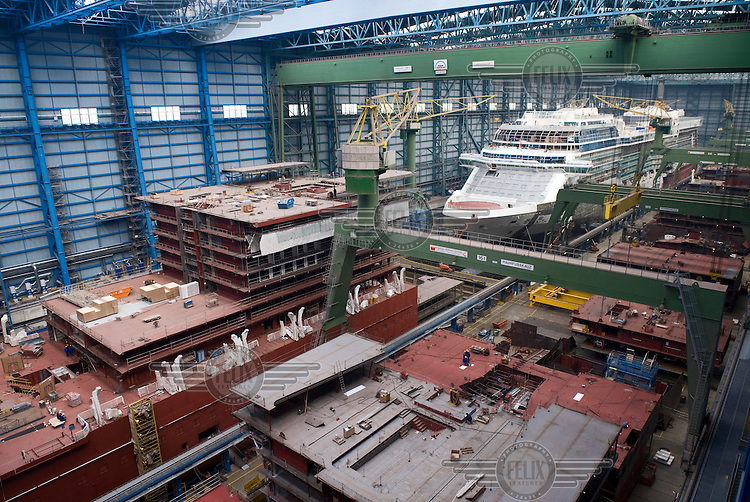 The ship Celebrity Equinox under construction at the Meyer shipyard in Papenburg.