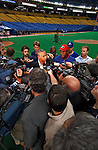 17 September 2003: Montreal Expos General Manager Omar Minaya addresses the media about Vladimir Guerrero prior to a game at Olympic Stadium in Montreal, Quebec. Mandatory Credit: Ed Wolfstein Photo
