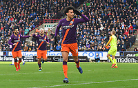 Manchester City's Leroy Sane salutes the fans after scoring his team's third goal <br /> <br /> Photographer Dave Howarth/CameraSport<br /> <br /> The Premier League - Huddersfield Town v Manchester City - Sunday 20th January 2019 - John Smith's Stadium - Huddersfield<br /> <br /> World Copyright © 2019 CameraSport. All rights reserved. 43 Linden Ave. Countesthorpe. Leicester. England. LE8 5PG - Tel: +44 (0) 116 277 4147 - admin@camerasport.com - www.camerasport.com