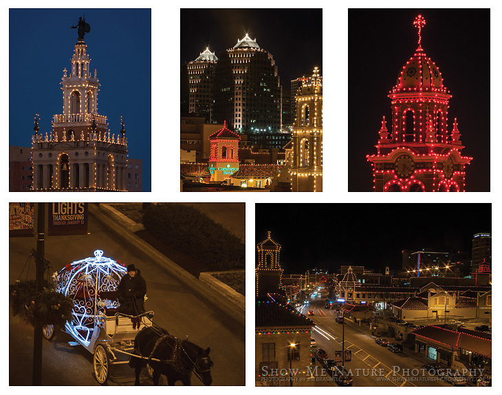"Boxed set of 10 Plaza Christmas Lights (Kansas City, MO) note cards (folded, blank inside), 2 of each of the pictured images, and 10 blank, white envelopes. To purchase, click on image until a ""Buy"" button appears above the image."