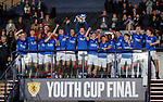 25.04.2019 Celtic v Rangers youth cup final: Rangers win the youth cup, Captain Daniel Finlayson lifts the trophy