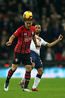Maya Yoshida of Southampton and Lucas of Tottenham Hotspur during Tottenham Hotspur vs Southampton, Premier League Football at Wembley Stadium on 5th December 2018