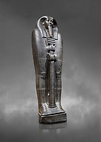 Ancient Egyptian greywacke sarcophagus lid of Ibi - late Period, 26th Dynasty (664-610BC). Egyptian Museum, Turin. Grey background<br /> <br /> Ibi was overseer of the priests of Thebes and chief steward of Nitocris, Divine Adoratrice of Amon during the reign of Psamtek I. The sarcophagus lid shows his hands emerging from a shroud to grasp the dfed-pillar, which allows him to rise to his feet again after resurrection. The lid weighs more than a ton and is finely sculpted. Despite the hardness of the greywacke stone the sarcophagus is made from, its makers have shown incredible skill creating a sarcophagus with intricate detail and a highly polished finish.