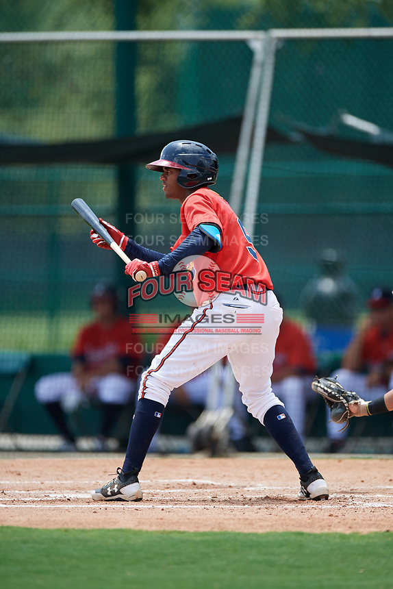 GCL Braves second baseman Luis Ovando (9) shows bunt during a game against the GCL Pirates on July 27, 2017 at ESPN Wide World of Sports Complex in Kissimmee, Florida.  GCL Braves defeated the GCL Pirates 8-6.  (Mike Janes/Four Seam Images)