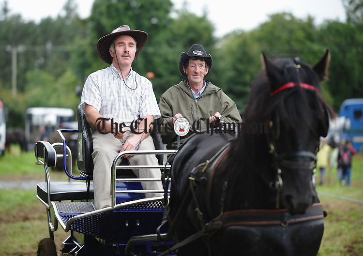 Mike Ryan and Joe O Keeffe travel in style at the South East Clare Show in Bridgetown. Photograph by John Kelly.