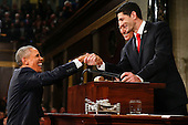 President Barack Obama shakes hands with Speaker Paul Ryan of Wisconsin before the State of the Union address before a joint session of Congress on Capitol Hill in Washington, Tuesday, Jan. 12, 2016.<br /> Credit: Evan Vucci / Pool via CNP