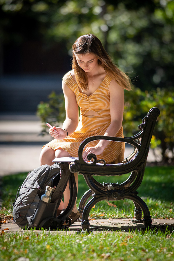 October 9, 2019; Student studying on a bench on Main Quad (Photo by Matt Cashore/University of Notre Dame)