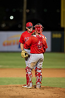 AZL Angels relief pitcher Jeremy Beasley (43) talks to catcher Connor Fitzsimons during a game against the AZL Giants on July 9, 2017 at Diablo Stadium in Tempe, Arizona. AZL Giants defeated the AZL Angels 8-4. (Zachary Lucy/Four Seam Images)