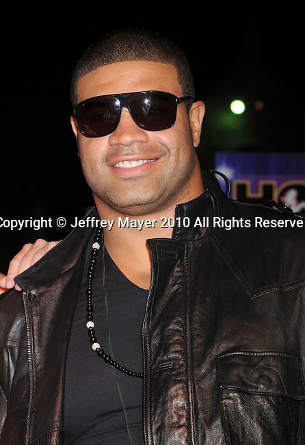 LOS ANGELES, CA. - June 26:  NFL player Shawne Merriman arrives at the Kandyland V Benefit At The Playboy Mansion on June 26, 2010 in Los Angeles, California.