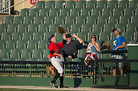 Kannapolis Intimidators first baseman Grant Massey (28) catches a foul fly ball near the stands during the game against the Delmarva Shorebirds at Kannapolis Intimidators Stadium on July 2, 2017 in Kannapolis, North Carolina.  The Shorebirds defeated the Intimidators 5-4.  (Brian Westerholt/Four Seam Images)