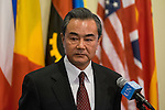 """Foreign Minister of China Speaks to Press<br /> Wang Yi (left at microphone), Minister for Foreign Affairs of the People's Republic of China and President of the Security Council for February, briefs journalists on the Council's open debate on the theme, """"Maintenance of international peace and security: Reflect on history, reaffirm the strong commitment to the purposes and principles of the Charter of the United Nations""""."""