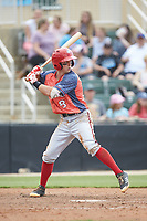 Cole Freeman (8) of the Hagerstown Suns at bat against the Kannapolis Intimidators at Kannapolis Intimidators Stadium on May 6, 2018 in Kannapolis, North Carolina. The Intimidators defeated the Suns 4-3. (Brian Westerholt/Four Seam Images)