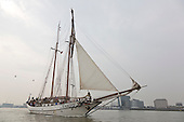 London, UK. 6 September 2014. Gaff schooner<br />  JR Tolkien on the River Thames. Tall Ships sailing on the River Thames on the second day of the Royal Greenwich Tall Ships Festival 2014.