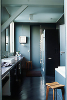 This bathroom designed by Emmanuel Renoird consists of a 5-metre length of concrete  supporting a pair of wash basins and is furnished with both a bath and a walk-in shower cubicle