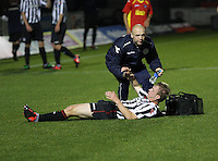 Graeme McGregor gets treatment in the St Mirren v Dunfermline Athletic Clydesdale Bank Scottish Premier League U20 match played at St Mirren Park, Paisley on 2.10.12.