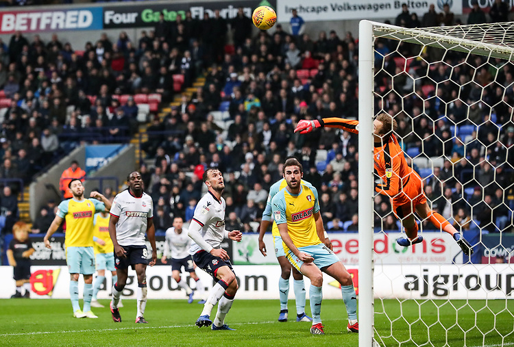 Rotherham United's Marek Rodak saves<br /> <br /> Photographer Andrew Kearns/CameraSport<br /> <br /> The EFL Sky Bet Championship - Bolton Wanderers v Rotherham United - Wednesday 26th December 2018 - University of Bolton Stadium - Bolton<br /> <br /> World Copyright © 2018 CameraSport. All rights reserved. 43 Linden Ave. Countesthorpe. Leicester. England. LE8 5PG - Tel: +44 (0) 116 277 4147 - admin@camerasport.com - www.camerasport.com