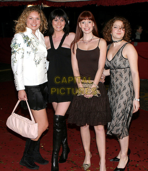 EMMERDALE ACTRESSES.JULIA MALLAM, LUCY PARGETER, AMY NUTTALL & ABIGAIL FISHER.An Audience With The England Rugby Team, LWT Studios.15 December 2003.www.capitalpictures.com.sales@capitalpictures.com.© Capital Pictures.