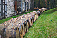 """Barrels of Kentucky bourbon whiskey leaving plant, Woodford Reserve, """"Labrot & Graham distillery, Versailles, KY"""