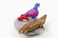 OrigamiUSA 2017 Holiday Tree at the American Museum of Natural History. Base 4 models:<br /> Pigeon: Designer &ndash; Roman Diaz, Folder &ndash; Rosalind Joyce<br /> Salmon: Designer &ndash; Roman Diaz, Folder &ndash; Rosalind Joyce<br /> Platypus: Designer &ndash; Steven Casey, Folder &ndash; Rosalind Joyce