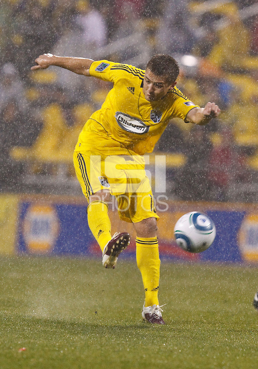 24 APRIL 2010:  Robbie Rogers of the Columbus Crew (18) during the Real Salt Lake at Columbus Crew MLS soccer game in Columbus, Ohio. Columbus Crew defeated RSL 1-0 on April 24, 2010.