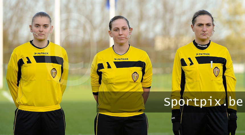 20151128 - Tubize , Belgium : referee Kim Depickere (M) with assistant referees Viki De Cremer (L) and Maria Etienne (R) pictured during the female soccer match between Women under 16 teams of  Belgium and Germany , in Tubize . Saturday 28th November 2015 . PHOTO DIRK VUYLSTEKE