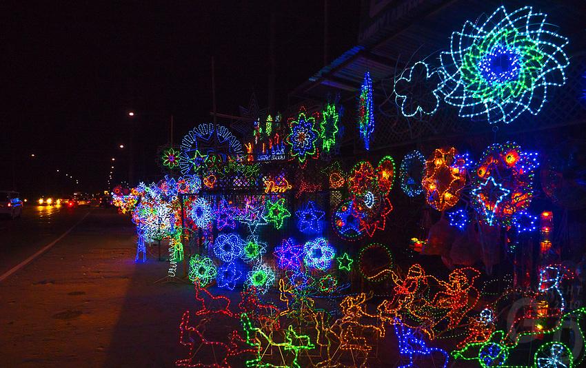 Christmas lights and lamps for sale along the Highway near San Fernando, Pampanga, Philippines
