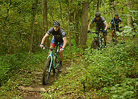 NWA Democrat-Gazette/BEN GOFF @NWABENGOFF<br /> Max Smith (from left) of Bella Vista, leads Steve Friedman of St. Louis, Mo. and Matt Johnson of Festus, Mo. on a ride on Sunday Aug. 7, 2016 on a section of the new Back 40 mountain bike trail system near Lake Ann in Bella Vista. Roughly 15 miles of the new Bella Vista trails system opened to the general public on Saturday, with the remainder still under construciton.