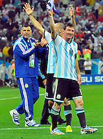 SAO PAULO - BRASIL -09-07-2014. Lionel Messi (#10) jugador de Argentina (ARG) celebra la victoria sobre  Holanda (NED) en partido de las semifinales por la Copa Mundial de la FIFA Brasil 2014 jugado en el estadio Arena de Sao Paulo./ Lionel Messi (#10) player of Argentina (ARG) celebrates the victory on Netherlands (NED) in the match of the Semifinal for the 2014 FIFA World Cup Brazil played at Arena de Sao Paulo stadium. Photo: VizzorImage / Alfredo Gutiérrez / Contribuidor
