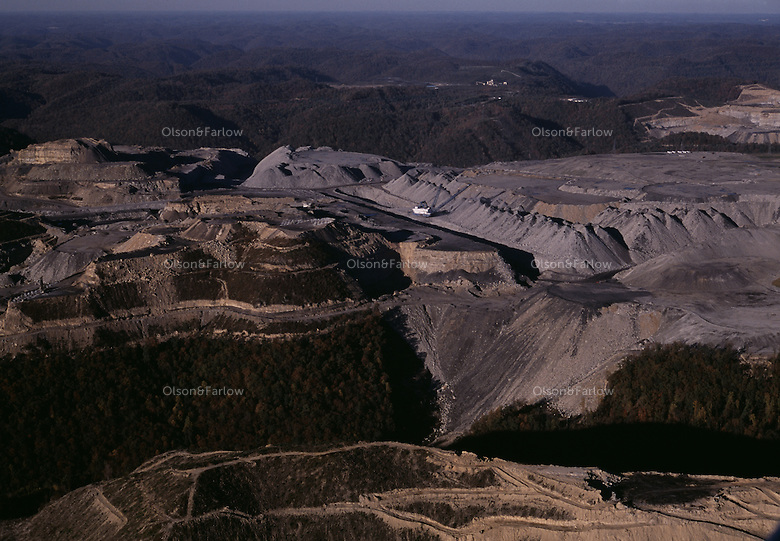 Aerial of drag line and v shaped valley fill on a mountaintop removal mine near Kayford Mountain owned by Massey Coal.