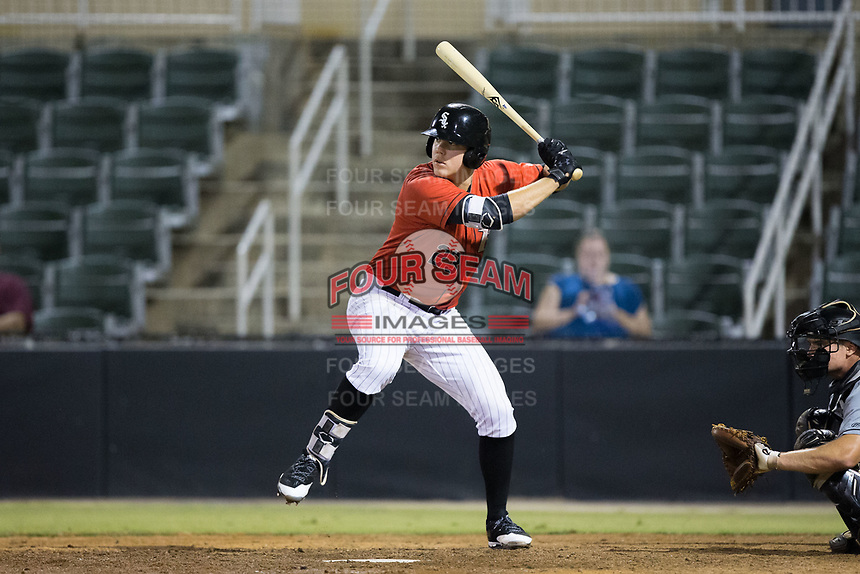 Gavin Sheets (23) of the Kannapolis Intimidators at bat against the West Virginia Power at Kannapolis Intimidators Stadium on July 19, 2017 in Kannapolis, North Carolina.  The Power defeated the Intimidators 7-4 in 11 innings.  (Brian Westerholt/Four Seam Images)
