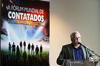 CURITIBA, PR, 16.05.2014 - II FÓRUM MUNDIA DE CONTATOS / CURITIBA -  Ademar Gevaerd - ufólogo brasileiro, editor da Revista UFO durante o II Fórum Mundia de Contatos que aconteçe na noite desta sexta-feira (16) , no Auditório do Hotel Pestana, centro de Curitiba. O evento reúne especialistas em Ufologia e pessoas que supostamente tiveram contato com objetos voadores não identificados ou seres extraterrestres.  O fórum tem apresença do norte-americano Travis Walton, que teria sido sequestrado por extraterrestres.  A história dele foi retratada no filme Fogo no Céu, (1993). Evento vai até domingo (18)  e participam 14 palestrantes de seis países: Argentina, Canadá, Chile, Estados Unidos, Venezuela, e Brasil. (Foto: Paulo Lisboa / Brazil Photo Press)