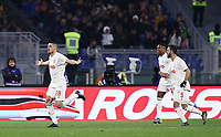 12th January 2020; Stadio Olympico, Rome, Italy; Italian Serie A Football, Roma versus Juventus; Merih Demiral of Juventus celebrates after scoring  for 1-0 in 3rd minute with Pjanic and Lobo Silva