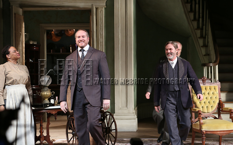 Caroline Stefanie, Darren Goldstein, Richard Thomas and Michael McKean during the Broadway Opening Night Curtain Call bows for 'The Little Foxes' at Samuel J. Friedman Theatre on April 19, 2017 in New York City.