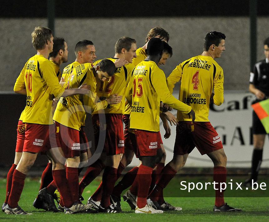 OMS Ingelmunster - FC Gullegem : vreugde bij Ingelmunster na de vroege 1-0 <br /> foto VDB / Bart Vandenbroucke