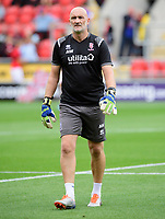 Lincoln City's first team goalkeeping coach Andy Warrington during the pre-match warm-up<br /> <br /> Photographer Chris Vaughan/CameraSport<br /> <br /> The EFL Sky Bet Championship - Rotherham United v Lincoln City - Saturday 10th August 2019 - New York Stadium - Rotherham<br /> <br /> World Copyright © 2019 CameraSport. All rights reserved. 43 Linden Ave. Countesthorpe. Leicester. England. LE8 5PG - Tel: +44 (0) 116 277 4147 - admin@camerasport.com - www.camerasport.com